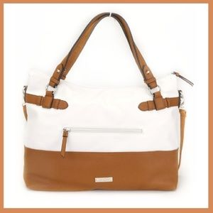 White Crossbody Tote with Camel Trim